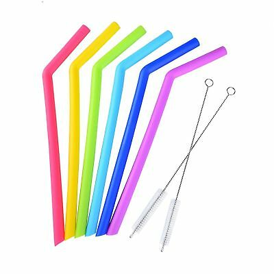 8 Pieces Reusable Silicone Straw Angled Drinking Straw with Cleaning Brush WF