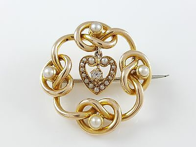Antique Victorian 15Ct Yellow Gold Seed Pearl & Diamond Lovers Knot Brooch C1885