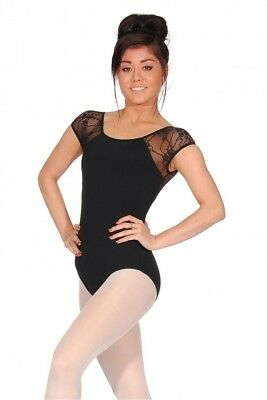 (Black, Small) - Bloch Chiwa Button Back Lace Leotard. Shipping Included