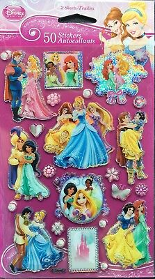 Disney Princess Stickers* New Sealed 50 Stickers 2 Sheets Free Shipping