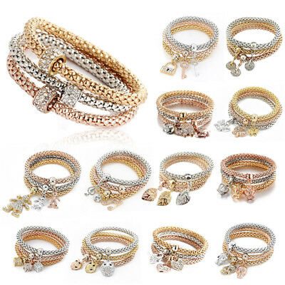 3pcs Jewelry Set Charm Women Bracelet Gold Silver Rose Gold Rhinestone Bangle