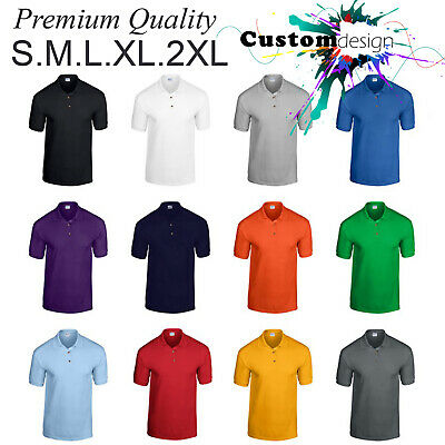 Gildan POLO Golf blank plain Jersey Collar T-Shirt S-2XL Small Big Men's Cotton