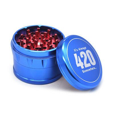 1 X 4 Layer 2.5 Inch Aluminum Tobacco Herb Crusher Grinder Spice Miller-BLUE