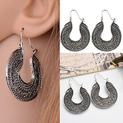 1 Pair Vintage Womens Silver Bohemian Boho Style Tibetan Carved Hook Earrings