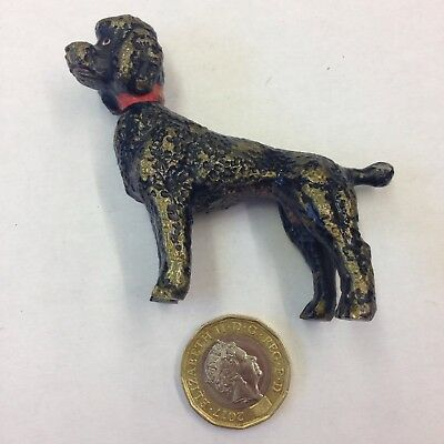 Cold Painted Bronze Figure Of A Black Poodle With Red Collar Probably Austrian