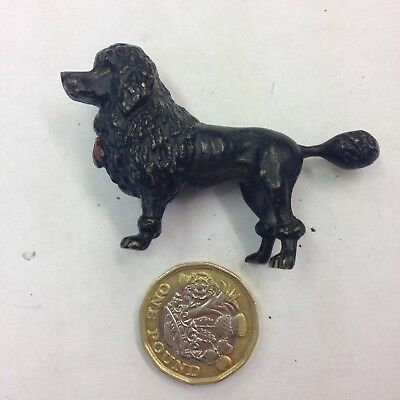 Miniature Cold Painted Bronze Figure Of A Black Poodle Probably Austrian