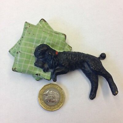 Cold Painted Bronze Figurine Of A Black Poodle Laying On 2 Pillows Austrian?