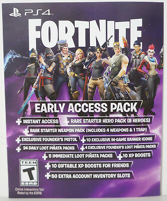 Fortnite Early Access Pack Game Add On (Sony PlayStation 4, 2017) - BRAND NEW