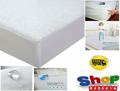 Terry Towel Waterproof Mattress Protector Single Double King Hotel Quality UK