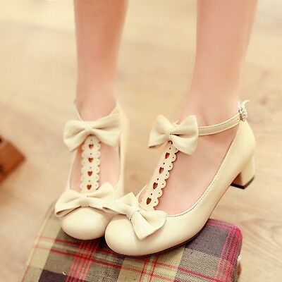 Womens Cute Bowknot Low Heel Ankle Strap Mary Janes Pumps Court Shoes Plus Size