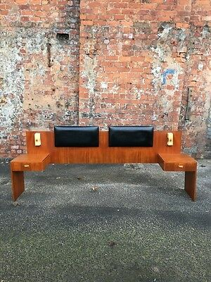 Large Retro Vintage Teak Headboard / Bed Back With Side Tables And Black Backs