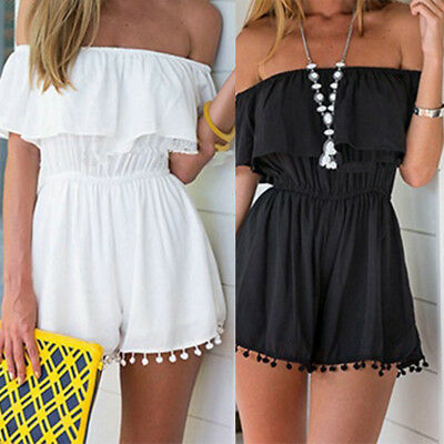 EG_ Summer Women Off-Shoulder Beach Short Playsuit Tassel Ruffled Jumpsuit & Rom
