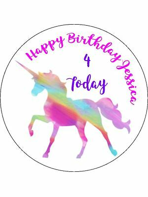 30-90 Pre-Cut Edible Wafer Cup Cake Toppers Personalised Rainbow Unicorn Pinks