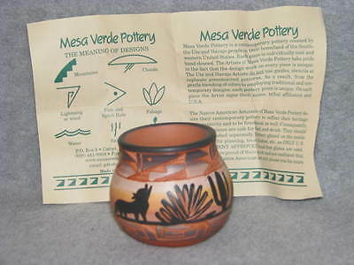 "Mesa Verde Navajo Pottery Hand Carved Painted Artist Signed Vase Sm Pot 2.5""Tall"