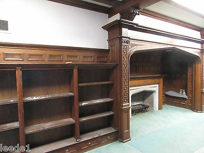 Large Pair 1900's Quarter Sawn Oak Three Section Multi Shelf Bookcase Salvage