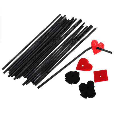 20x Novelty Playing Card Poker Black Drinking Straws Wedding Party Accessory