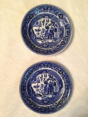 2 Antique Pottery Buffalo China Blue Willow Saucers 1916