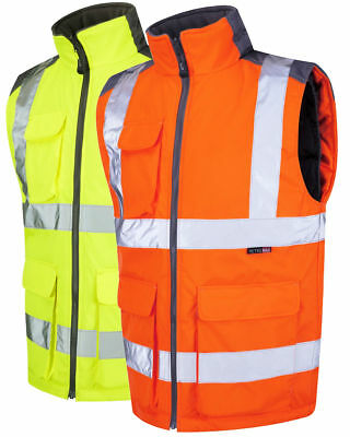 Leo Workwear Torrington Mens Bodywarmer Hi Vis Quilt Lined PU Coated Waistcoat