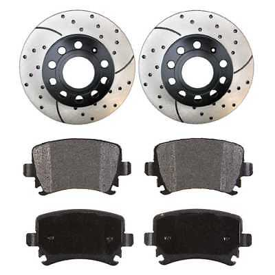 Set of 2 Performance Drilled & Slotted Rotors & Ceramic Pads w/Lifetime Warranty