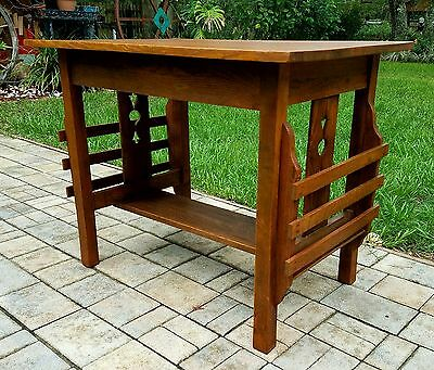 Antique quartersawn oak library table mission Arts & Crafts stickley style
