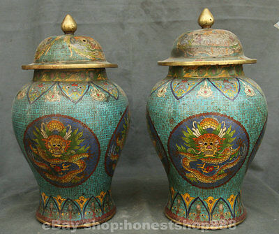 "16""China Cloisonne Enamel Bronze Six Dragon General Jar Tank Pot Crock Vase Pair"