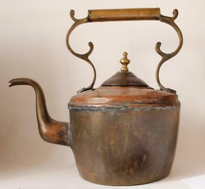 Large Antique Copper and Brass Tea Kettle Hand Hammered Germany c. mid-1800s