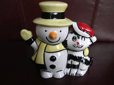 Lorna Bailey Christmas Cat with Santa Hat and Snowman Signed Collectors Piece