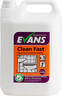 Evans Vanodine Clean Fast washroom Altro cleaner bathroom toilets bacteria 5 Ltr