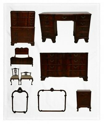 Flame Mahogany French Style 9 pc Bedroom Set Suite