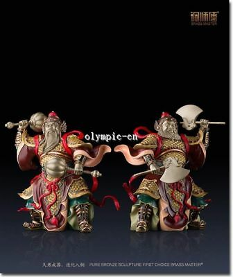 Pair16''Pure Brass handcraft colored drawing Folk home fengshui door protect God