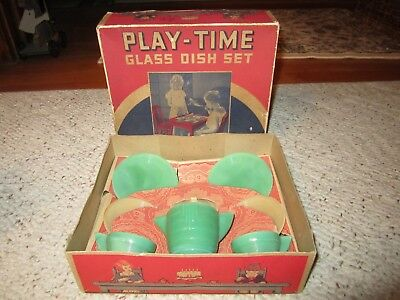 Vintage Akro Agate Play Time Glass Dish Set Stacked Disc/Concentric Rib W/Box!!!