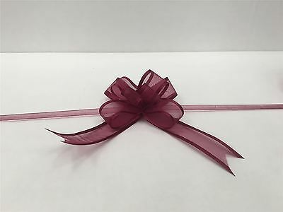 Pull Bow Organza Ribbon - Burgundy (Pack of 5 Pull Bows) Free P&P