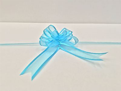 Pull Bow Organza Ribbon - Turquoise (Pack of 5 Pull Bows) Free P&P