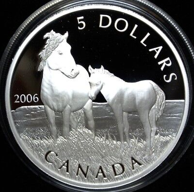 2006 Canada $5 99.99 Pure Silver Proof Coin & Sable Island Horse &foal Stamp Set