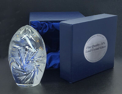 CRYSTAL GLASS EGG PAPERWEIGHT Fine Quality Mens Womens Desk Gift ENGRAVED FREE