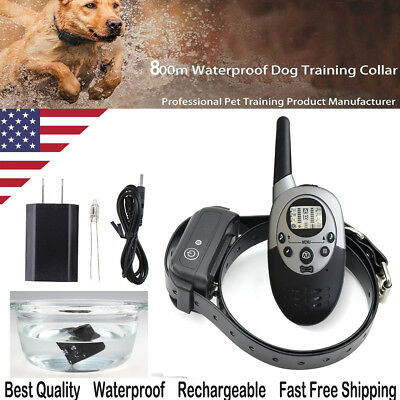 Rechargeable Waterproof LCD Electric Remote Dog Training Shock Collar (Leather)