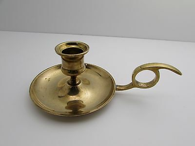 Vintage Antique Brass Candle Holder with Finger Loop