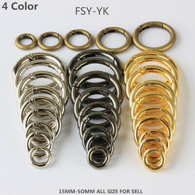 Lot Round Carabiner Camping Push Gate Snap Open Hook Spring Ring 15-50mm 4 Color