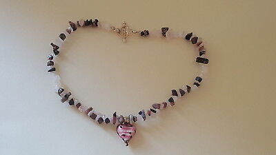 Murano pink glass & sterling silver vintage Art Deco antique heart necklace