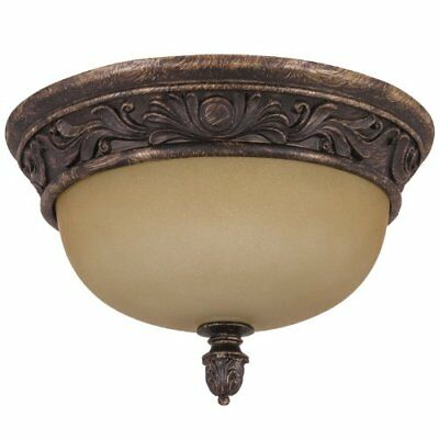 """13"""" Decorative Dome Ceiling Fixture Antique Brown Tea Stained Glass"""