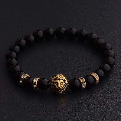 Fashion Women Men Natrual Lava Silver Gold Lion Gemstone Handmade Charm Bracelet