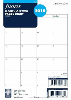 Filofax A5 2018 Month On Two Pages Diary - 68510