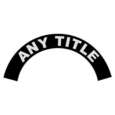 Any Title Rank Name White on Black Helmet Crescent Reflective Decal Sticker