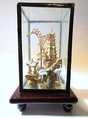 vintage Chinese carved cork diorama art in glass case pagoda and storks