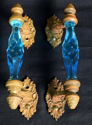 Pair of Vintage Brass Rare Victorian Cut Blue Glass Door Handle Decor. i24-130