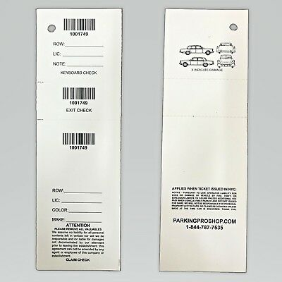 """3 Part Valet Parking Tickets -Box of 1000 2.3/4""""x8.1/2"""" (W/Barcode) 67lb paper"""