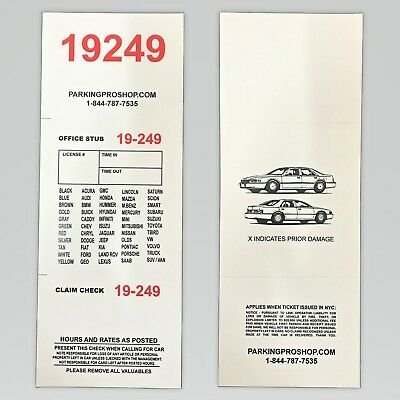 """3 Part Valet Parking Tickets -Box of 1000 3.1/4""""""""x8.1/2"""" Red Numbers 110lb Paper"""