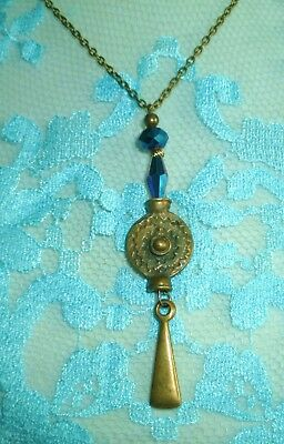 Old 1920 Antique Brass Pendant, Blue Crystals, Art Deco Era, Ziza Bijoux Paris