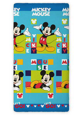 Disney MICKEY MOUSE Let's go green blue SINGLE FITTED SHEET 90x200cm 100% COTTON