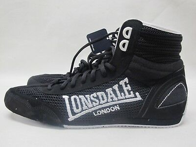 Mens Lonsdale Contender Black White Boxing Full Lace Up Textile Boots